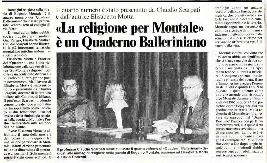 Articolo La religione per Montale - Il-Cittadino di Monza e Brianza, sabato 1 giugno 1996