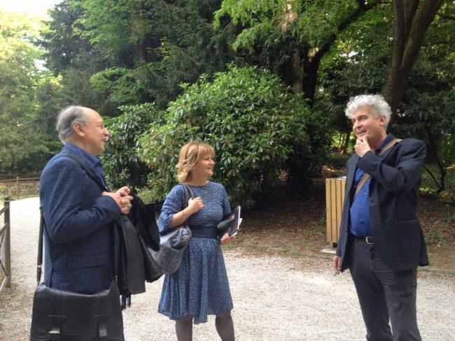 Pietro De Marchi, Elisabetta Motta, Fabio Pusterla nel parco delal Villa Reale