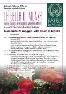 La Casa della Poesia di Monza - LA BELLA DI MONZA locandina (clicca per pdf)