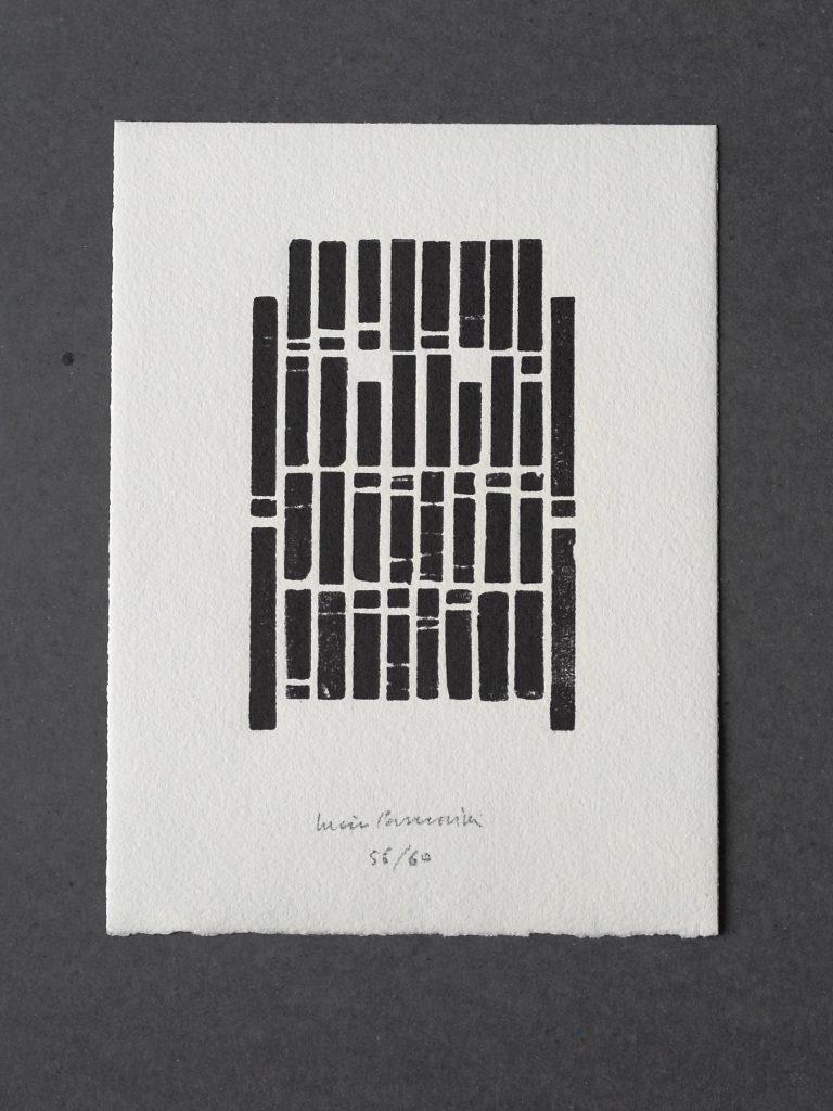 """Tipogramma originale di Lucio Passerini stampato a torchio e firmato dall'artista contenuto nelle prime sessanta copie del libro di Maria Gioia Tavoni Riproporre il """"silenzio"""" per le Contemplazioni di Arturo Martini"""