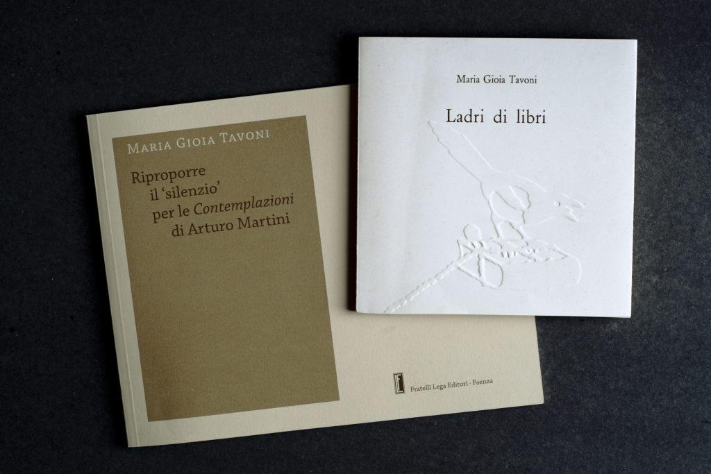 Copertine dei libri di Maria Gioia Tavoni che verranno presentati presso la Villa Reale di Monza